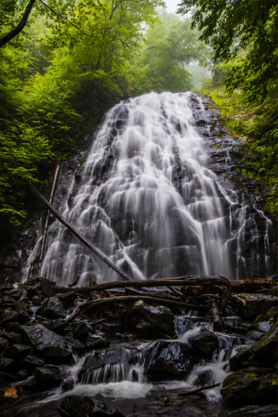 rabtree Falls Blue Ridge Parkway Hikes NC cascading mountain waterfall surrounded by green trees