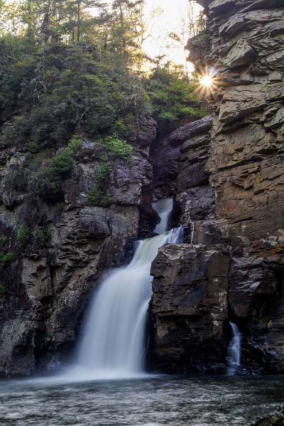 Linville Falls NC Blue Ridge Parkway with base of the waterfall between rocks and gorge