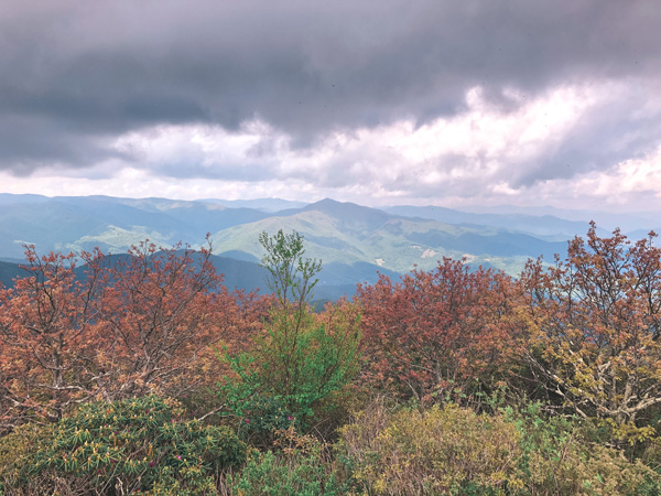 Mount Pisgah Blue Ridge Parkway Hikes NC with dark gray clouds over green and blue mountains with red and orange leaves