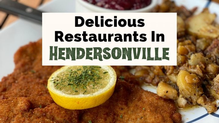 Best Restaurants in Hendersonville NC with Haus Heidelberg German Restaurant breaded schnitzel on plate with fried potatoes and red cabbage garnished with lemon slice