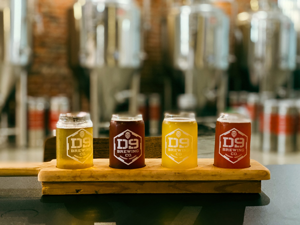 D9 Brewing Company Hendersonville NC with flight of four beers ranging from light yellow to darker brown