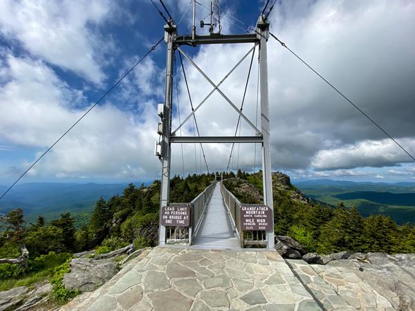 Grandfather Mountain Mile High Swinging Bridge with steel bridge over mountains