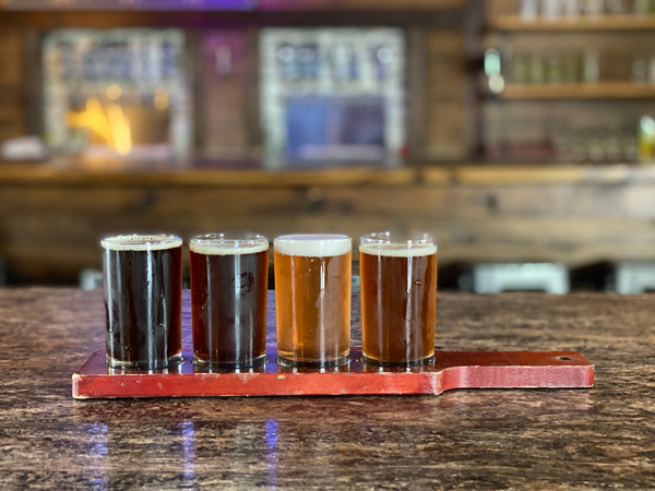 Triskelion Brewing Hendersonville NC with flight of four beers ranging from dark to light and taps and bar blurred in background