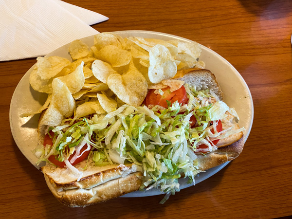Apollo Flame Bistro Asheville Lunch tuna Sub with potato chips on white plate