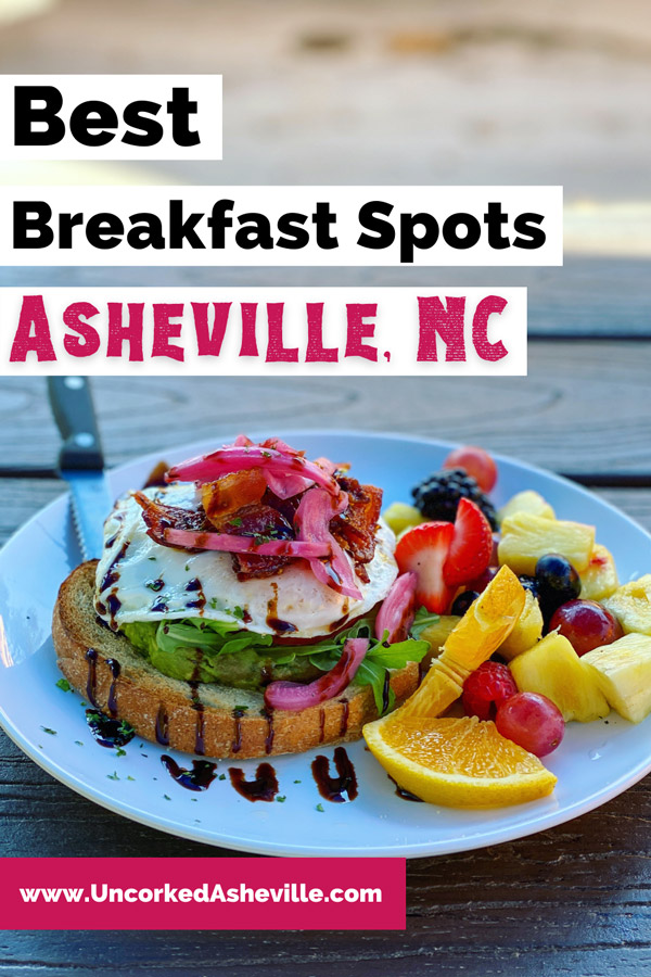 Best Asheville Breakfast Restaurants Pinterest Pin with plate of avocado toast and eggs with bacon from Sunny Point Cafe in West Asheville, NC