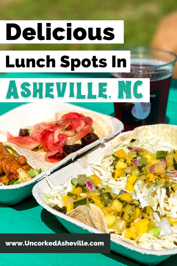 Best Asheville lunch restaurants Pinterest pin with White Duck Taco Shop Asheville Tacos with Ginger Revenge ginger beer and four soft shell tacos on green picnic table outside