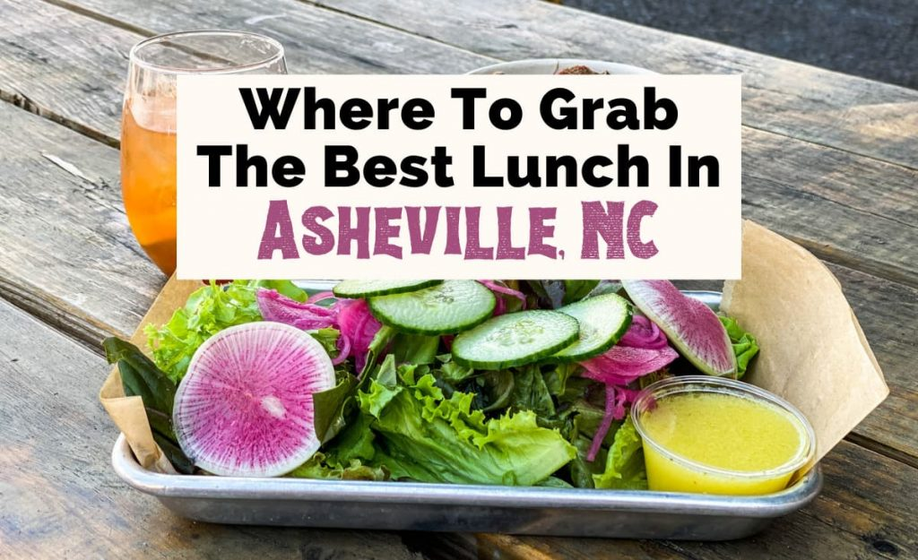 Best Lunch In Asheville NC with salad with radishes and cucumber, bowl of boiled peanuts, and apple butter Old Fashioned Cocktail