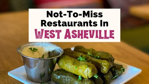 Best Restaurants In West Asheville NC with picture of grape leaves on white plate on table from Gypsy Queen Cuisine