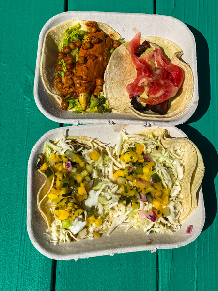 Best Tacos Asheville White Duck Taco Shop with two tacos filled with meats and veggies on green picnic table