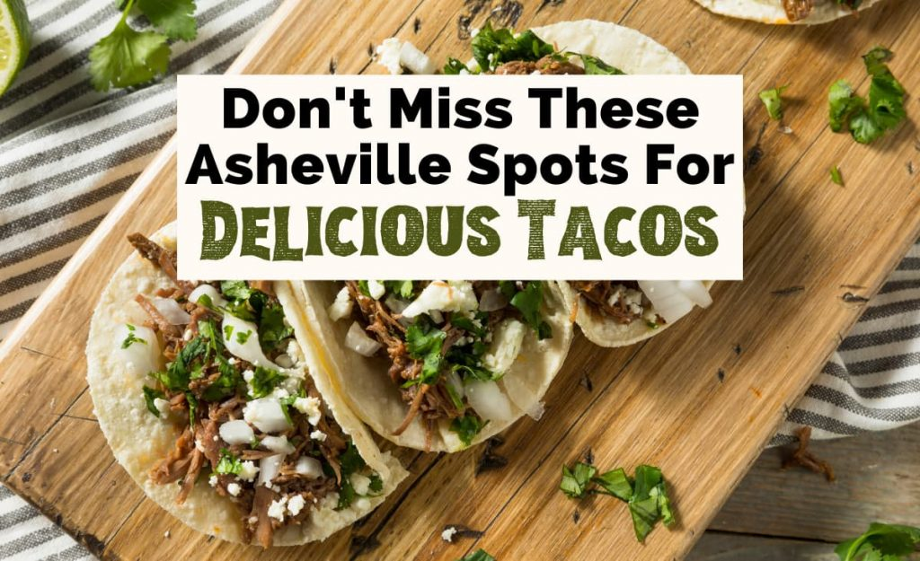 Best Tacos In Asheville, NC with three tacos filled with meat, onion, sauce, and cilantro on light brown cutting board