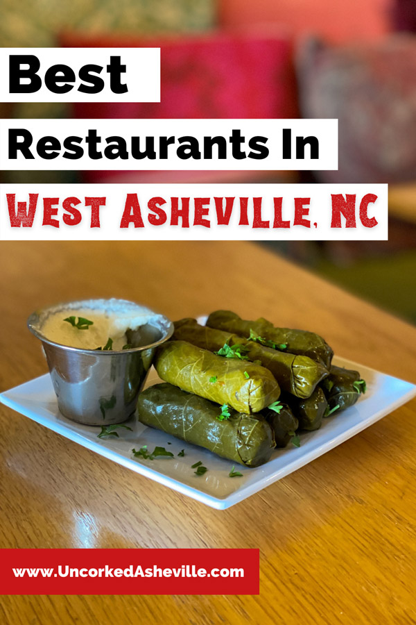 Best West Asheville Restaurants Pinterest Pin with picture of grape leaves and vegan dip from Gypsy Queen Cuisine