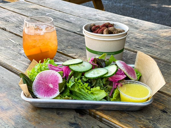 Haywood Common Lunch Asheville NC with salad with radishes and cucumber, bowl of boiled peanuts, and apple butter Old Fashioned Cocktail