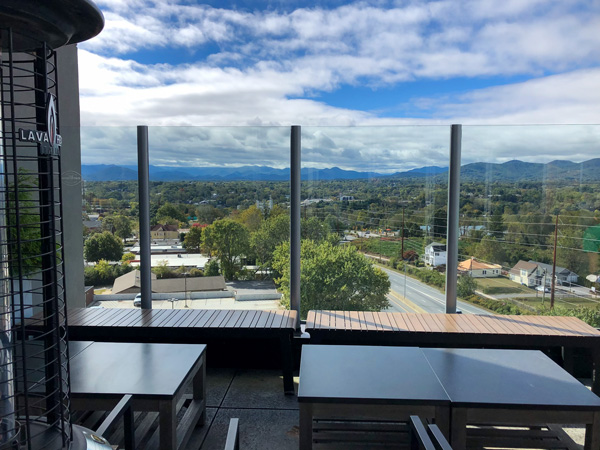 The Montford Rooftop Bar Asheville NC with views of historic Montford neighborhood and Blue Ridge Mountains