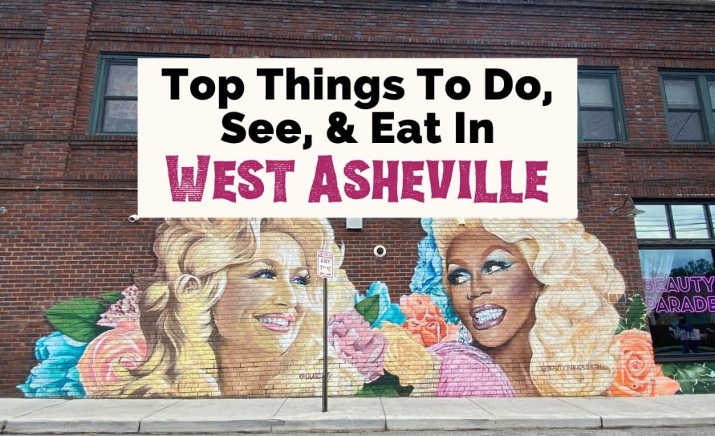 West Asheville Things To Do and Shopping with Gus Cutty's mural on Beauty Parade Salon of Dolly Parton and RuPaul