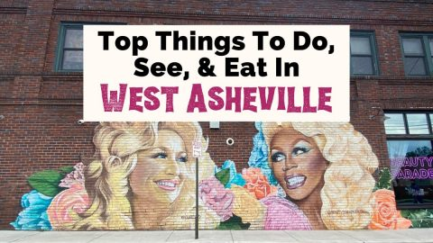 West Asheville Things To do shopping and food with Gus Cutty's RuPaul and Dolly Parton mural
