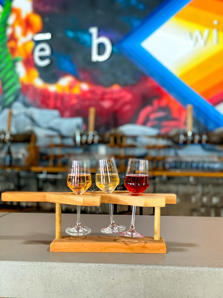 Wine flight pleb urban winery Asheville North Carolina with orange, yellow, and red wine in flight with pleb logo and mural in background