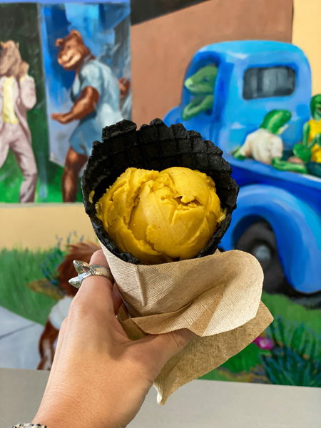 The Hop Ice Cream Asheville NC with vegan black waffle cone and vegan pumpkin ice cream in front of a mural